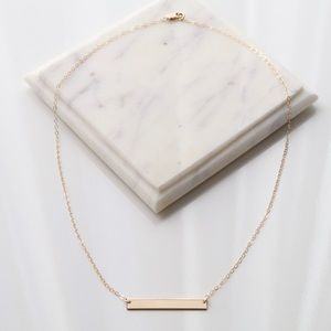 Jewelry - Solid 14K Gold Filled Dainty Blank Bar Necklace